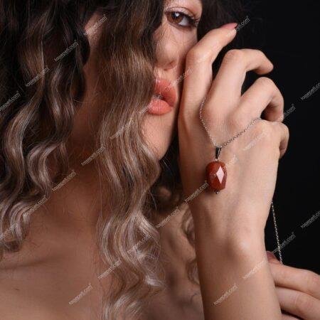 akik doğal taş kadın kolye ucu