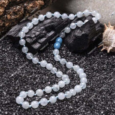 akuamarin doğal taş erkek kolye