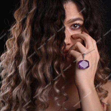 ametist doğal taş kadın kolye ucu