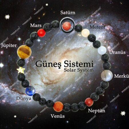 güneş sistemi doğal taş bileklik