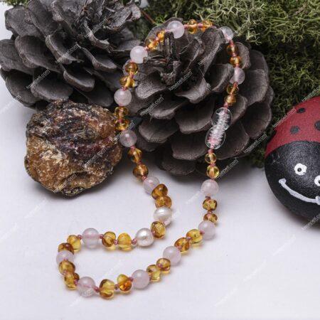 inci ve pembe kuvars doğal taşlı kehribar