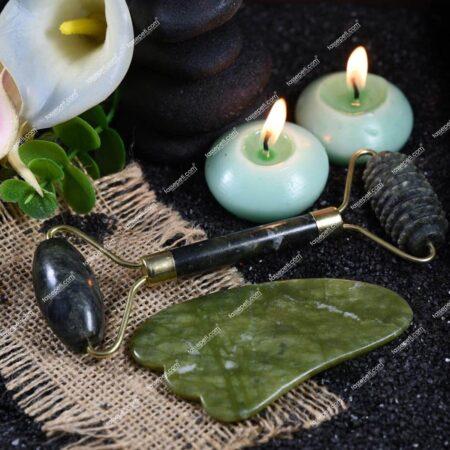 jade roller masaj aleti ve gua sha orjinal yüz masaj seti