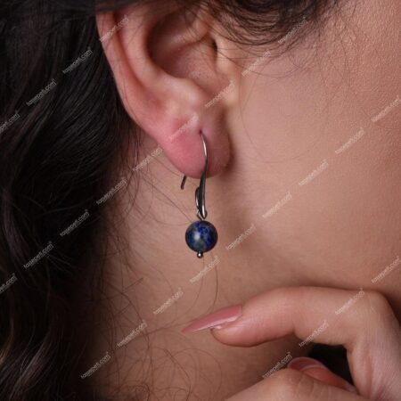 lapis lazuli doğal taş kadın küpe