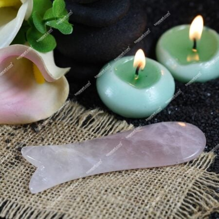 pembe kuvars gua sha orjinal yüz masaj taşı